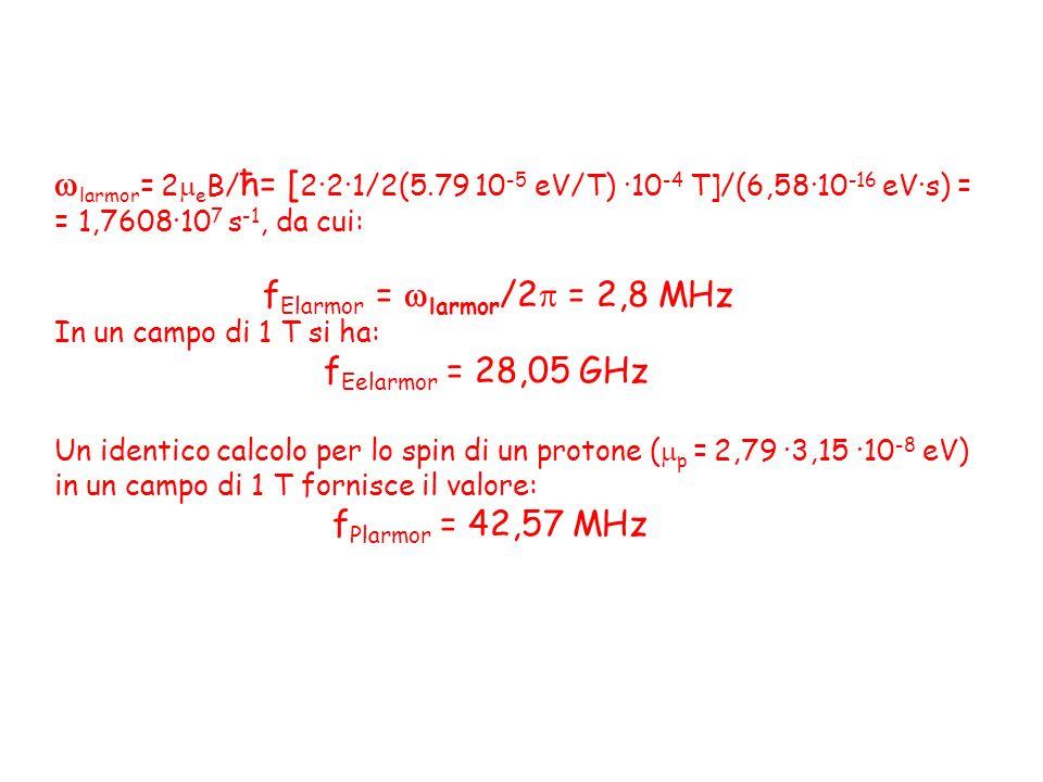 larmor= 2eB/ħ= [2·2·1/2(5.79 10-5 eV/T) ·10-4 T]/(6,58·10-16 eV·s) =
